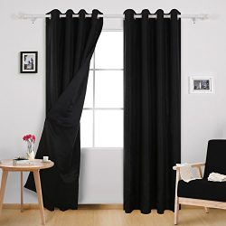 Deconovo Blackout Drapes Faux Dupioni Silk Curtains with Black Lining Grommet Lined Blackout Cur ...