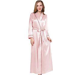 Coowalk Women's Long Kimono Robe, 135cm, Solid Color