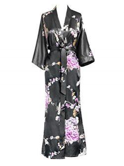 Old Shanghai Women's Kimono Long Robe – Chrysanthemum & Crane – Gunmetal,  ...
