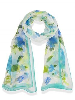 Womens 100% Silk Great Nature Pattern Scarf (FlowerwithBirds-Blue)