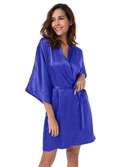 SIORO Kimono Robe Satin Robes Silk Lightweight Nightwear Wedding Bath Robe V-Neck Sexy Sleepwear ...