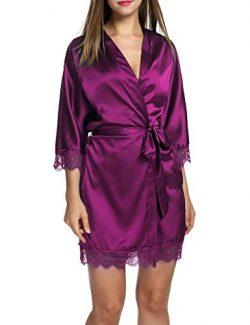 HOTOUCH Women's Pure Color Kimono Robes Satin Nightwear Bridesmaids Short Style Dark Orchi ...