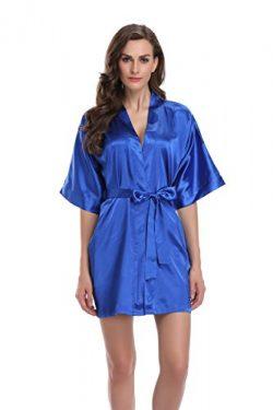 Sunnyhu Women's Pure Color Kimono Robe, Short (L, Sapphire)