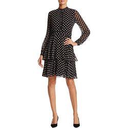 Tory Burch Womens Seymour Silk Printed Casual Dress Black 6