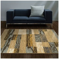 Superior Modern Rockwood Collection Area Rug, 8mm Pile Height with Jute Backing, Textured Geomet ...