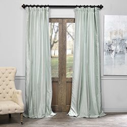 Half Price Drapes PDCH-KBS22-84 Vintage Textured Faux Dupioni Silk Curtain, 50 x 84,  Water Fall