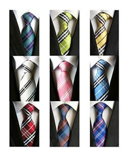 YanLen Lot 9 PCS Classic Men's Tie Necktie Woven JACQUARD Neck Ties (Style 01)