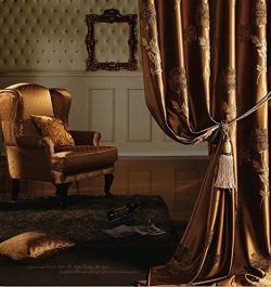 IYUEGO Traditional Jacquard Faux Silk Multi Floral Grommet Top Curtain Draps 50″ W x 102&# ...