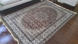 Brown Grey Ivory Black New Silk Traditional Isphan Area Rugs Ultra Low Pile 5'2×7&#82 ...