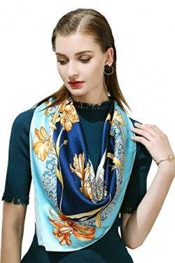 100% Silk Scarf, 35″x35″ Large Square Printed Silk Charmeuse Scarf by Oscar Rossa