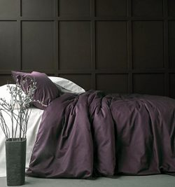 Solid Color Egyptian Cotton Duvet Cover Luxury Bedding Set High Thread Count Long Staple Sateen  ...