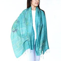 Unique Wrappable Silk Scarf. Handmade Blue Silk Scarves Wrap (Peacock)