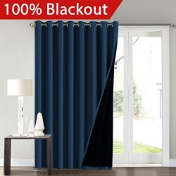 FlamingoP Full Blackout Navy Wide Patio Door Curtains Faux Silk Satin with Black Liner 100 x 84  ...