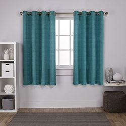 Exclusive Home Curtains Virenze Faux Silk Grommet Top Window Curtain Panel Pair, Teal, 54×63