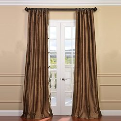 Half Price Drapes DIS-ID50-120 Mocha Textured Dupioni Silk Curtain, Brown