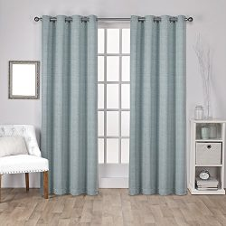 Exclusive Home Curtains Virenze Faux Silk Grommet Top Window Curtain Panel Pair, Marine, 54×96