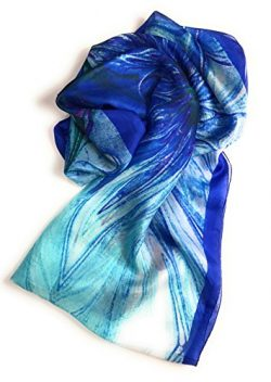 Z&HTrends Womens Genuine Silk Pattern Scarf Infinity (Abstract Blue)