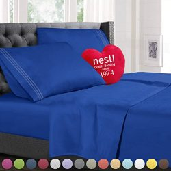 King Size Bed Sheets Set Royal Blue, Highest Quality Bedding Sheets Set on Amazon, 4-Piece Bed S ...