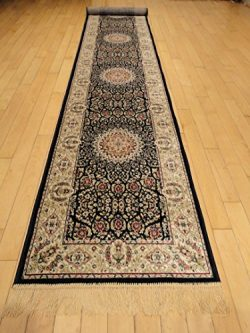 Silk Navy Persian Area Rug Navy Rug 2×12 Hallway Runners Long Runners for Stairs Rug Area R ...