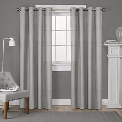 Exclusive Home Curtains Loha Linen Grommet Top Window Curtain Panel Pair, Dove Grey, 52×96