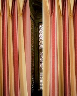 Red Gold 6 Inches Striped Faux Silk Window Lined Rod Pocket Curtain Panel Drape (52W X 96L)