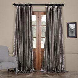 Half Price Drapes Ptch-BO112-108-DW Blackout Extra Wide Faux Silk Taffeta Curtain, 100 X 108, Po ...