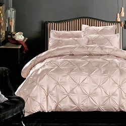 LA MEJOR 100% Silk Cotton Queen Size Luxurious Pinch Pleat Decorative Pintuck Bedding Set Beige