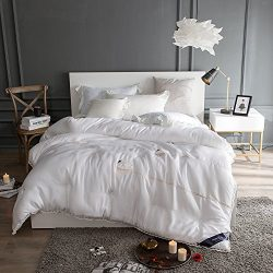 Embroidered Swan Silk Soft Comforters with Lace Edge, Modal Fabric, Long-staple Cotton Fill Quil ...