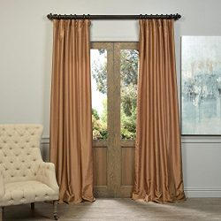 Half Price Drapes PDCH-KBS8-96 Vintage Textured Faux Dupioni Silk Curtain, 50 x 96,  Flax Gold