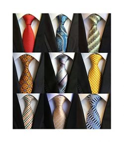 Welen Lot 9 PCS Classic Men's Tie Necktie Woven JACQUARD Neck Ties, Asst. Colors, One Size ...