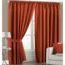 Faux Silk Light Reducing Thermal Burnt Orange 46×72 Pencil Pleat Curtains with Tiebacks by  ...