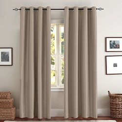 Satin Blackout Curtain Drapes for Living Room, Energy Saving Bedroom Solid Faux Silk Window Pane ...