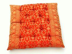 Embroidered Indian Sari Cotton Filled Chair Cushion (Saffron)