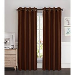 Window Elements Kim Faux Silk Extra Wide 108 x 84 in. Grommet Curtain Panel Pair, Chocolate