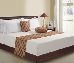 ShalinIndia Set of 1 Bed Runner and 2 Cushion Covers Brown With Maroon- 18 inch by 90 inch Runne ...
