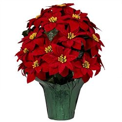 Artificial Red Poinsettias Weighted Potted Bouquet. 20″ Tall with 24 Poinsettias! Purchase ...
