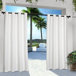 Exclusive Home Curtains Indoor/Outdoor Solid Cabana Grommet Top Window Curtain Panel Pair, Winte ...