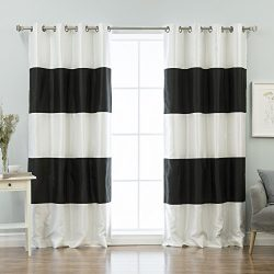 Best Home Fashion Striped Dupioni Faux Silk Blackout Curtain – Antique Bronze Grommet Top  ...
