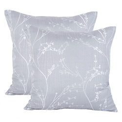 Jahosin Throw Pillow Cases 18 X 18 Inches ,Decorative Gray Branch Comfortable Tribute Silk Fabri ...