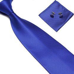 Zjzhao Fashion Woven Silk Necktie HandMade Mens Tie Cufflinks and Handkerchief Set Hanky Gift (R ...