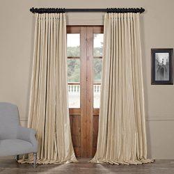Half Price Drapes Ptch-BO130907-108-DW Blackout Extra Wide Faux Silk Taffeta Curtain, 100 X 108, ...