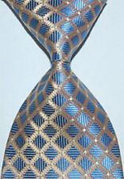 jacob alex #45277 Check Plaids Baby Blue Gold JACQUARD WOVEN Silk Tie Mens Tie Necktie