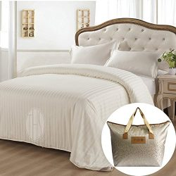 THXSILK Summer Comforter 100% Natural Mulberry Silk Quilt with Striped Cotton Cover, King 102&#2 ...