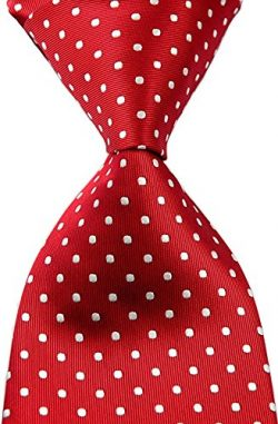 Best Collection New Classic Polka Dot Jacquard Woven Silk Men's Tie Necktie (Red)