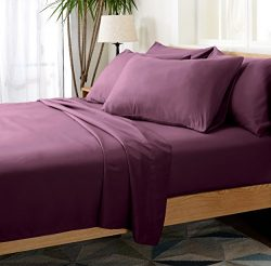 4 Piece Silky Soft Luxurious Comfortable Twin Bed Sheet Set – Eggplant Purple – by C ...
