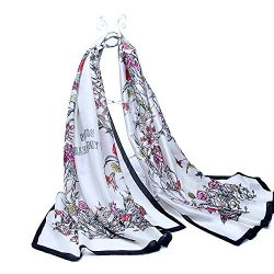 AlinkZ Women's Satin Silk Feeling Colorful Long Fashion Pattern Scarf Shawl Wrap 75″ ...