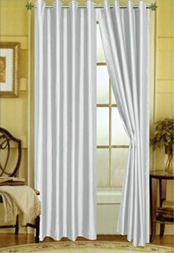 "A Pair of 2 Faux Silk Grommet Curtain Panels (Silver, 58″x""84)"