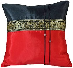 Artiwa Throw Decorative Silk Pillow Covers Thai Elephants 16″x16″ Cushions Red / Black