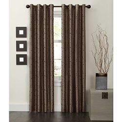 Maytex Jardin Embroidered Thermal Window Curtain, 54 by 84-Inch, Mocha