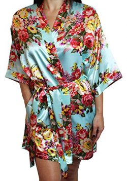Women's Satin Floral Kimono Short Bridesmaid Robe W/ Pockets – Light Blue M/L